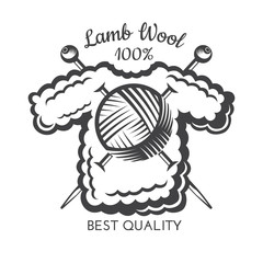 Yarn ball with crossed knitting needles on sweater. Logo for craft related site or business