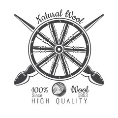 Wheel distaff with crossed spindle with yarn. Logo for craft related site or business