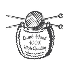 Yarn ball with crossed knitting needles with knitting. Logo for craft related site or business
