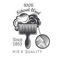 Wool on crest with yarn ball. Logo for craft related site or business