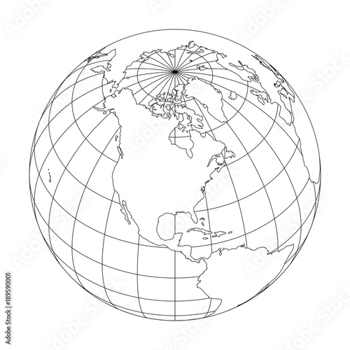 Line Art Earth : Quot outline earth globe with map of world focused on north