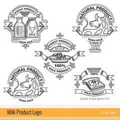 Set of line logo or labels for milk farm products