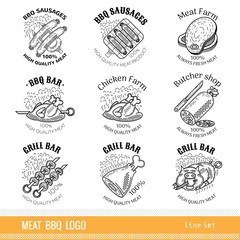 Set of outline line logo. Labels for Meat farm, grill and BBQ bar, butcher shop isolated on white