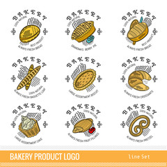 Set of color outline kind bakery product logo. Labels for different bread isolated on white