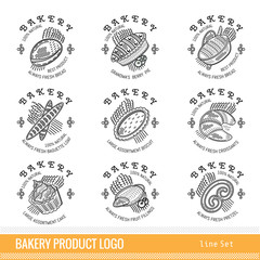 Set of outline kind bakery product logo. Labels for different bread isolated on white
