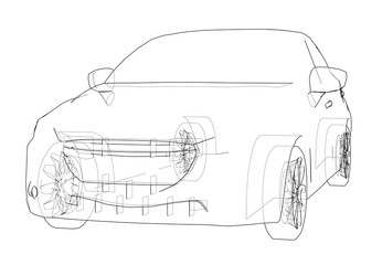 Car outline drawing. Vector