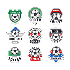 Soccer league or tournament logo templates set. Creative line art icons with green, red and blue colors. Flat vector isolated on white.