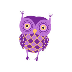 Cute soft purple owlet plush toy, stuffed cartoon animal vector Illustration