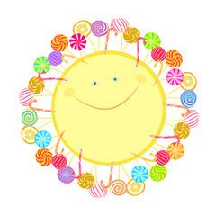 Изолированное изображение весёлого жёлтого солнца с лучами в виде леденцов разной формы и разного цвета.