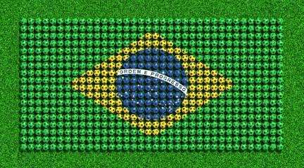 Flag of Brazil from soccer balls on grass field. 3D render.