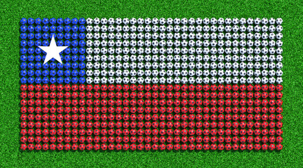 Flag of Chili from soccer balls on grass field. 3D render.