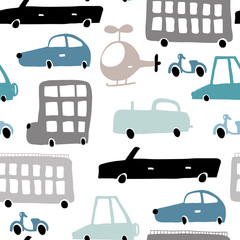 Seamless pattern with hand drawn transport Cartoon cars, helicopter vector illustration.Perfect for kids fabric,textile,nursery wallpaper