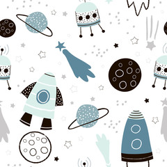 Childish seamless pattern with hand drawn space elements space, rocket, star, planet, space probe. Trendy kids vector background.