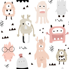 Childish seamless pattern with cute girls monsters. Trendy scandinavian vector background. Perfect for kids apparel,fabric, textile, nursery decoration,wrapping paper