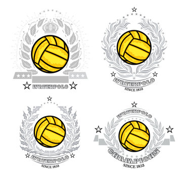 Set of water polo ball in center of silver wreath isolated on white. Sport logo for any teaw