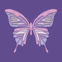 Embroidery butterfly on pantone colors of the year 2018 background. Vector element for patches, badges and stickers.