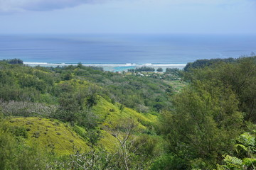 Coastal landscape, vegetation on the heights of the island of Rurutu with the village of Avera in background, south Pacific ocean, Austral archipelago, French Polynesia