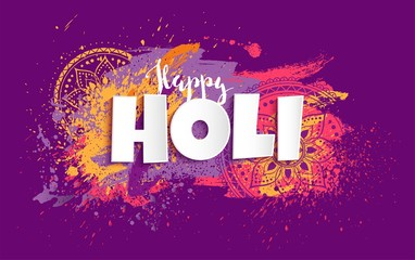 Happy Holi design with colorful paint splatters. Vector illustration