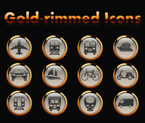 transport gold-rimmed icons for your creative ideas