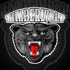 Beast wolf face from the front view with bared teeth. Logo for any sport team timberwolf