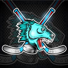 Beast bear face from the side view with hockey puck and crossed stick. Logo for any sport team polarbear