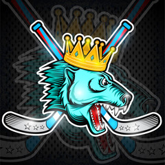 Beast bear face from the side view with hockey puck, crown and crossed stick. Logo for any sport team polarbear