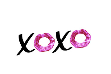 Black handwritten text XOXO with red lipstick imprints isolated on white background. Design element for posters, greeting cards with a kiss on Valentine's Day or wedding.