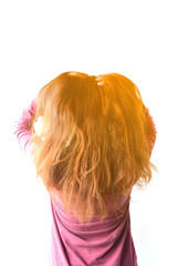 Fury and big anger inside of people, Blonde furious standing woman pulling blonde hair out of head. Emotional young girl showing her bad expression, motion portrait