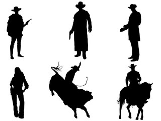 Set of 6 cowboy silhouette