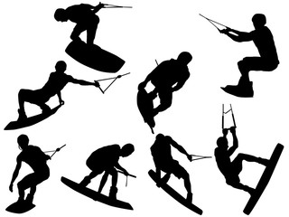 Set of 6 Wakeboarding silhouette