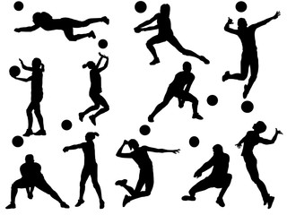 Set of Volleyball silhouette