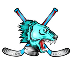 Beast bear face from the side view with hockey puck and crossed stick. Logo for any sport team polar bear isolated on white