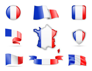 France Flags Collection. Flags and contour map. Vector illustration