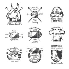Set of labels from lama wool with yarn. Logo for knitted craft related site or business