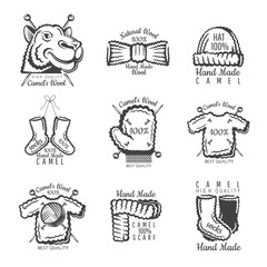 Set of labels from camel wool with yarn. Logo for knitted craft related site or business