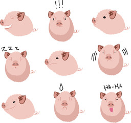 cute chubby pig farms cartoon character