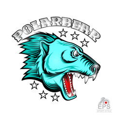 Beast bear face from the side view with bared teeth. Logo for any sport team polarbear isolated on white