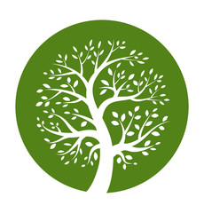 Green tree round icon, vector illustration logo