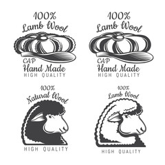 Set of wool labels sheep and tweed cap. Logo for knitted craft related site or business