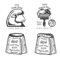 Set of wool labels sheep and tweed skirt. Logo for knitted craft related site or business