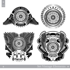 Set of banners with motorbike wheel in side view with wings, stars and ribbon. Vintage motorcycle design on white