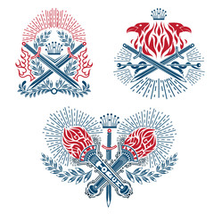 Set of vintage label with crossed torches, swords in engraving line style isolated red and blue color on white