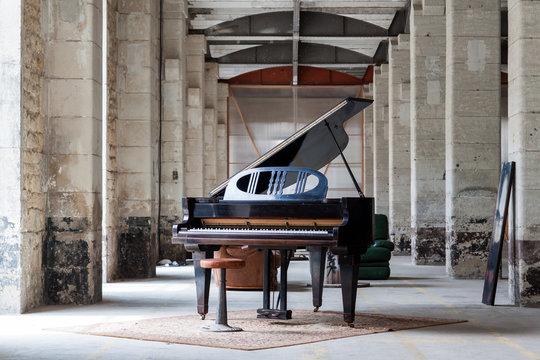 Grand piano in rustic environment