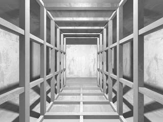 Dark concrete empty room. Modern architecture design