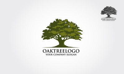 Oak tree logo illustration. Vector silhouette of a tree. Wall mural