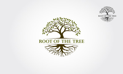 Root Of The Tree logo illustration. Vector silhouette of a tree. Wall mural