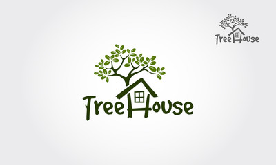 Tree House illustrative logo for Environmental care related business. It's great for websites and the design is print friendly for all medias. Design on white background