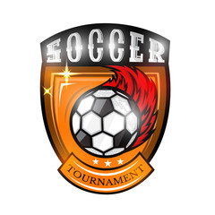 Soccer ball with fire trail in center of golden shield. Sport logo for any football team on white