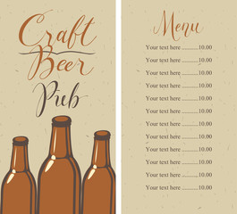 Vector menu with price list for pub with craft beer, with a handwritten inscriptions and a picture of three beer bottles on the background of old cardboard in retro style