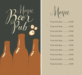 Vector menu with price list for beer pub with a handwritten inscriptions and a picture of three beer bottles on the background of old cardboard in retro style.